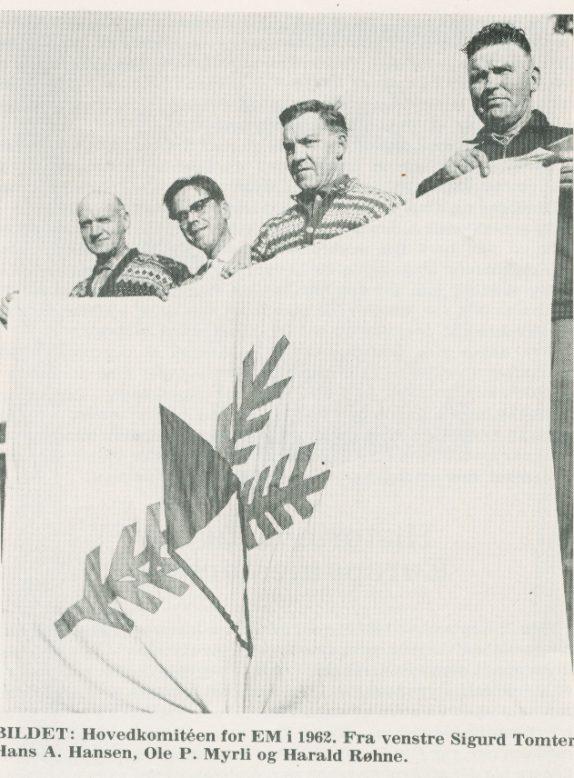 EM 1962: Hovedkomitéen (f.v. Sigur Tomter, Hans A. Hansen, Ole P. Myrli og Harald Røhne)